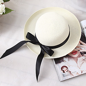 cheap Party Hats-Women's Basic Holiday Straw Straw Hat-Color Block Summer White Brown Beige