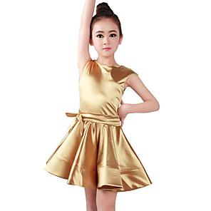 cheap Kids' Dancewear-Ballet Dress Satin Bow Ruching Girls' Training Performance Sleeveless Natural Orlon
