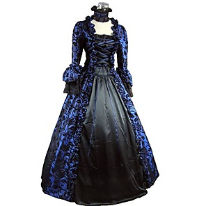 cheap Historical & Vintage Costumes-Rococo Victorian 18th Century Dress Party Costume Women's Costume Bule / Black Vintage Cosplay Party Prom 3/4-Length Sleeve Ball Gown