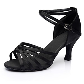 cheap Latin Shoes-Women's Dance Shoes Latin Shoes Sandal Heel Splicing Thick Heel Customizable Black / Performance / Satin / Practice