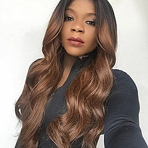 cheap Human Hair Wigs-Remy Human Hair Lace Front Wig Rihanna style Brazilian Hair Wavy Body Wave Ombre Wig 130% Density Women's Long Human Hair Lace Wig beikashang