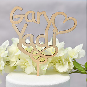 cheap Wedding Decorations-Cake Topper Classic Theme / Wedding Love Wooden / Bamboo Wedding / Anniversary with Net 1 pcs OPP