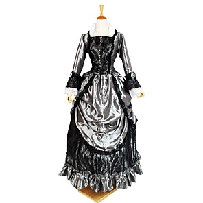 cheap Historical & Vintage Costumes-Cosplay Duchess Outfits Gothic Lolita Rococo Baroque Medieval Dress Cosplay Costume Women's Costume Black+Sliver Vintage Cosplay Floor Length Plus Size Customized