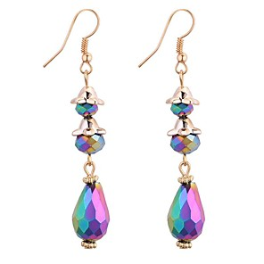 cheap Earrings-Women's Synthetic Tanzanite Drop Earrings Chandelier Long 3 stone Drop Ladies Vintage Fashion Elegant Earrings Jewelry Yellow / Rainbow / Blue For Party / Evening School 1 Pair
