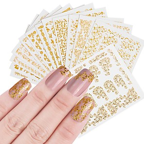 cheap Makeup Brush Sets-12 pcs Artificial Nail Tips Nail Jewelry Full Nail Stickers nail art Manicure Pedicure Fashionable Design / Creative Professional / Nail Decals Daily Wear