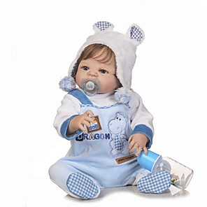 cheap Reborn Doll-NPKCOLLECTION 24 inch NPK DOLL Reborn Doll Baby Boy Reborn Toddler Doll lifelike Gift Child Safe Non Toxic Artificial Implantation Blue Eyes Full Body Silicone with Clothes and Accessories for Girls