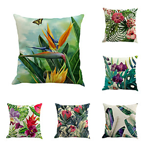 cheap Pillow Covers-Set of 6 Linen Pillow Cover, Botanical Floral Print Rustic Holiday Throw Pillow