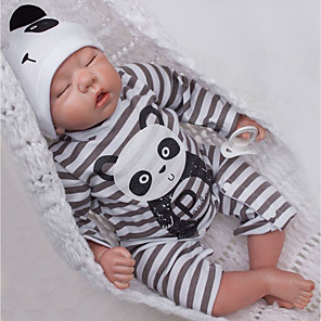 cheap Reborn Doll-20 inch Reborn Doll Baby & Toddler Toy Baby Boy Newborn lifelike Eco-friendly Gift Hand Made Cloth 3/4 Silicone Limbs and Cotton Filled Body with Clothes and Accessories for Girls' Birthday and