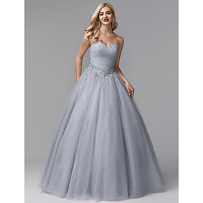 cheap Prom Dresses-Ball Gown Luxurious Grey Quinceanera Formal Evening Dress Sweetheart Neckline Sleeveless Floor Length Tulle Stretch Satin with Crystals Beading 2020