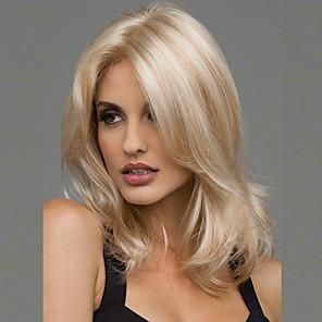 halpa Synteettiset peruukit ilmanmyssyä-Synteettiset peruukit Laineita Laineita Peruukki Vaaleahiuksisuus Keskikokoinen Musta Ruskea Vaaleahiuksisuus Burgundi Synteettiset hiukset 20 inch Naisten Heat Resistant Keskijakaus Vaaleahiuksisuus