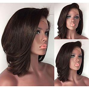 cheap Synthetic Lace Wigs-Synthetic Wig Synthetic Lace Front Wig Straight Short Bob Lace Front Wig Short Dark Brown Synthetic Hair Women's Adjustable Heat Resistant Women Dark Brown Modernfairy Hair / Natural Hairline