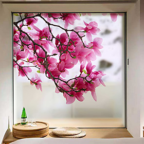 cheap Wall Stickers-Window Film & Stickers Decoration Matte / Contemporary Flower / Floral PVC(PolyVinyl Chloride) Window Sticker / Matte