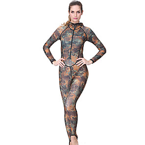 cheap Wetsuits, Diving Suits & Rash Guard Shirts-Dive&Sail Women's Rash Guard Dive Skin Suit Diving Suit SPF50 UV Sun Protection Quick Dry Full Body Front Zip - Diving Snorkeling Camo / Camouflage