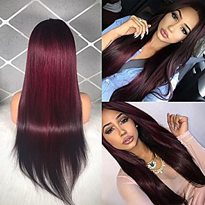 cheap Human Hair Wigs-Remy Human Hair Lace Front Wig Middle Part style Brazilian Hair Straight Wig 130% Density Women's Long Human Hair Lace Wig