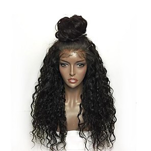 cheap Synthetic Trendy Wigs-Synthetic Lace Front Wig Curly Layered Haircut Lace Front Wig Long Natural Black Synthetic Hair Women's Natural Hairline Black