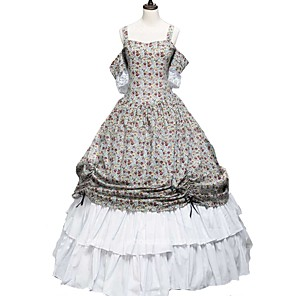 cheap Historical & Vintage Costumes-Cosplay Lolita Victorian Costume Women's Dress Party Costume Print Vintage Cosplay 50% Cotton / 50% Polyester Pure Cotton Short Sleeve Cold Shoulder