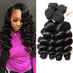 povoljno Ekstenzije od ljudske kose-4 paketića Brazilska kosa Wavy Ljudska kosa 400 g Ljudske kose plete Produžetak 8-28 inch Prirodna boja Isprepliće ljudske kose Najbolja kvaliteta Rasprodaja Proširenja ljudske kose / 8A