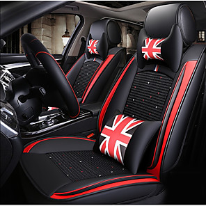 cheap Car Seat Covers-Black red British style Car Seat Cover with 2 headrest,2 waist cushions and 1 steering wheel sleeve for 5 seat car/PU Leather and Ice Silk materials/Airbag compatible/Adjustable