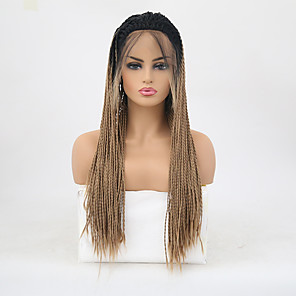 cheap Synthetic Lace Wigs-Twist Braids Synthetic Lace Front Wig Matte Braid Lace Front Wig Blonde Long Black / Gold Synthetic Hair Women's Heat Resistant Ombre Hair Blonde