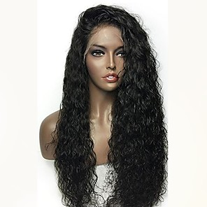 cheap 4 Bundles Human Hair Weaves-Remy Human Hair Lace Front Wig Layered Haircut Rihanna style Brazilian Hair Curly Black Wig 180% Density with Baby Hair Natural Hairline Women's Long Human Hair Lace Wig Aili Young Hair