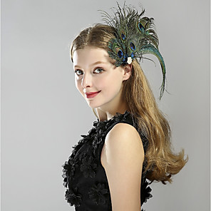 cheap Historical & Vintage Costumes-The Great Gatsby Charleston Vintage 1920s Roaring Twenties Flapper Headband Women's Feather Costume Head Jewelry Blue Vintage Cosplay Party Prom