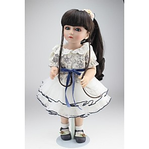 cheap Reborn Doll-NPKCOLLECTION 18 inch NPK DOLL Ball-joined Doll / BJD Country Girl Cute Child Safe Non Toxic Birthday Artificial Implantation Blue Eyes Full Body Silicone Silicone with Clothes and Accessories for