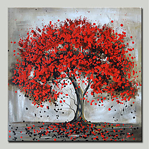 cheap Abstract Paintings-Mintura® Hand Painted Red Tree Oil Paintings On Canvas Modern Abstract Flower Wall Art Pictures For Home Decoration Ready To Hang