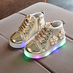 cheap Kids' LED Shoes-Girls' Boots LED / Bootie / LED Shoes PU Toddler(9m-4ys) / Little Kids(4-7ys) Chain / Lace-up / LED Pink / Gold / Silver Spring &  Fall / Spring & Summer / Booties / Ankle Boots