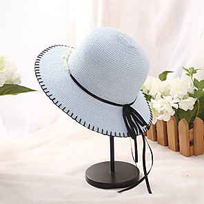 cheap Party Hats-Women's Basic Holiday Straw Straw Hat-Color Block Summer White Blushing Pink Brown