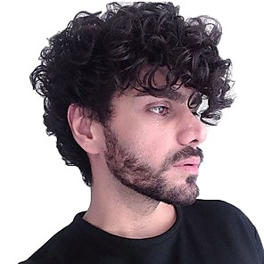 cheap Synthetic Trendy Wigs-PANSY Mens Toupee Hairpiece Human Hair Replacement Mono Base Top Swiss Lace with PU 8X10 jet black Wavy Lace Front With Bleached Knots