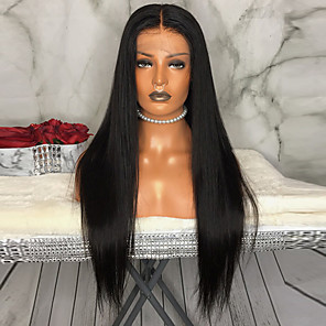cheap Synthetic Lace Wigs-Synthetic Lace Front Wig Straight Kardashian Layered Haircut Middle Part Lace Front Wig Long Natural Black Synthetic Hair Women's with Baby Hair Soft Heat Resistant Black