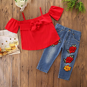 cheap Kids Collection Under $8.99-Baby Girls' Casual / Active Daily / Holiday Solid Colored / Floral Embroidered Short Sleeve Regular Clothing Set Red / Toddler