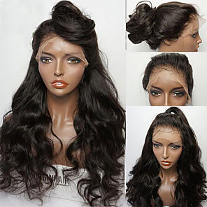 cheap Synthetic Lace Wigs-Synthetic Wig Synthetic Lace Front Wig Wavy Middle Part Lace Front Wig Long Black#1B Medium Brown Synthetic Hair Women's with Baby Hair Soft Heat Resistant Black Modernfairy Hair / Natural Hairline