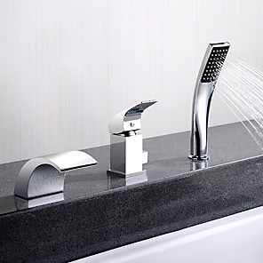cheap Bathtub Faucets-Bathtub Faucet - Contemporary Chrome Deck Mounted Ceramic Valve Bath Shower Mixer Taps / Single Handle Three Holes
