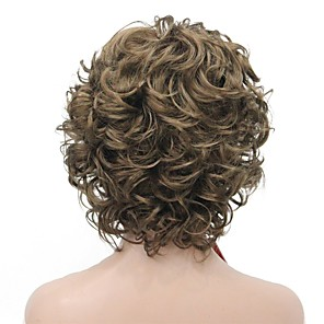 cheap Synthetic Trendy Wigs-Synthetic Wig Curly Middle Part Wig Short Golden Brown Synthetic Hair Women's Fluffy Dark Brown StrongBeauty