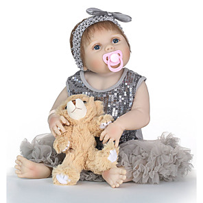 cheap Reborn Doll-NPKCOLLECTION 24 inch NPK DOLL Reborn Doll Girl Doll Baby Girl Reborn Toddler Doll lifelike Gift Child Safe Non Toxic Artificial Implantation Blue Eyes Full Body Silicone with Clothes and Accessories