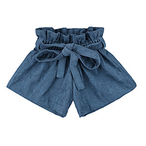 cheap Clearance-Baby Girls' Basic Daily Solid Colored Lace up Cotton Shorts Blue / Toddler