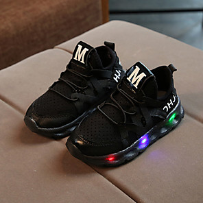 cheap Kids' LED Shoes-Boys' / Girls' Sneakers LED / Comfort / LED Shoes Mesh / PU Lace-up / LED / Luminous White / Black / Pink Spring &  Fall / Spring & Summer