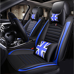 cheap Car Seat Covers-Four seasons universal Cartoon five-seat car seat cushion/PU leather/Two headrest/two waist cushions/one steering wheel sleeve