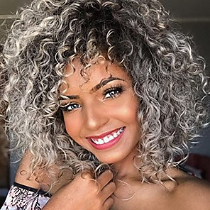 cheap Synthetic Lace Wigs-Synthetic Wig Curly Bob Pixie Cut Wig Ombre Medium Length Grey Synthetic Hair Women's Party Synthetic Ombre Hair Gray Ombre / African American Wig / For Black Women