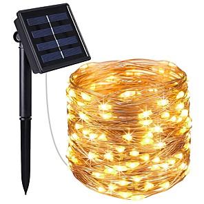 tanie Taśmy świetlne LED-KWB 4x5 M Łańcuchy świetlne 200 Diody LED 1 Zestaw wspornika montażowego 1 zestaw Ciepła biel Biały Niebieski Wodoodporny Na energię słoneczną Dekoracyjna Zasilanie solarne