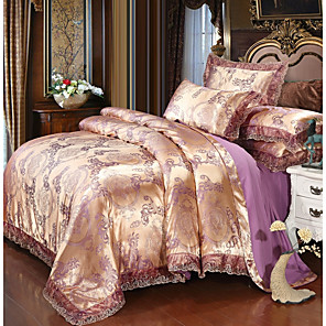 cheap Solid Duvet Covers-Duvet Cover Sets Luxury Polyster Printed & Jacquard 4 PieceBedding Set With Pillowcase Bed Linen Sheet Single Double Queen King Size Quilt