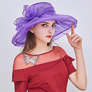 cheap Historical & Vintage Costumes-Queen Elizabeth Audrey Hepburn Retro Vintage Kentucky Derby Hat Fascinator Hat Women's Organza Costume Hat Black / White / Purple Vintage Cosplay Party Party Evening