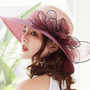 cheap Historical & Vintage Costumes-Women's Kentucky Derby Active Holiday Straw Lace Straw Hat-Solid Colored Ruffle Summer Gray Fuchsia Wine