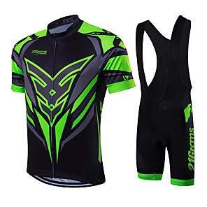 cheap Cycling Jersey & Shorts / Pants Sets-21Grams Men's Short Sleeve Cycling Jersey with Bib Shorts - Green / Black Bike Clothing Suit, Breathable, Quick Dry, Sweat-wicking Coolmax®, Lycra Classic / High Elasticity