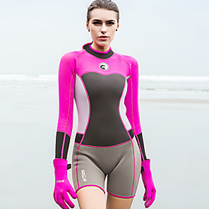 cheap Wetsuits, Diving Suits & Rash Guard Shirts-HISEA® Women's Shorty Wetsuit 1.5mm SCR Neoprene Diving Suit Stretchy Long Sleeve Back Zip Fashion