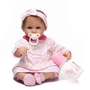 cheap Reborn Doll-NPKCOLLECTION 18 inch NPK DOLL Reborn Doll Girl Doll Baby Girl Newborn Gift Artificial Implantation Brown Eyes Cloth 3/4 Silicone Limbs and Cotton Filled Body with Clothes and Accessories for Girls