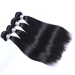 cheap 4 Bundles Human Hair Weaves-4 Bundles Hair Weaves Brazilian Hair Straight Human Hair Extensions Remy Human Hair 100% Remy Hair Weave Bundles 400 g Natural Color Hair Weaves / Hair Bulk Human Hair Extensions 8-28 inch Natural