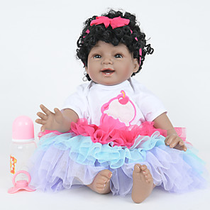 cheap Reborn Doll-FeelWind 22 inch Reborn Doll Girl Doll Baby Girl Indian Girl African Doll Reborn Baby Doll lifelike Hand Made Child Safe Non Toxic Parent-Child Interaction Full Body Silicone with Clothes and