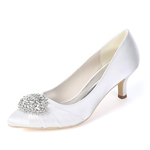 cheap Wedding Shoes-Women's Wedding Shoes Glitter Crystal Sequined Jeweled Plus Size Kitten Heel Pointed Toe Basic Pump Wedding Party & Evening Rhinestone Solid Colored Satin White / Purple / Champagne / EU40